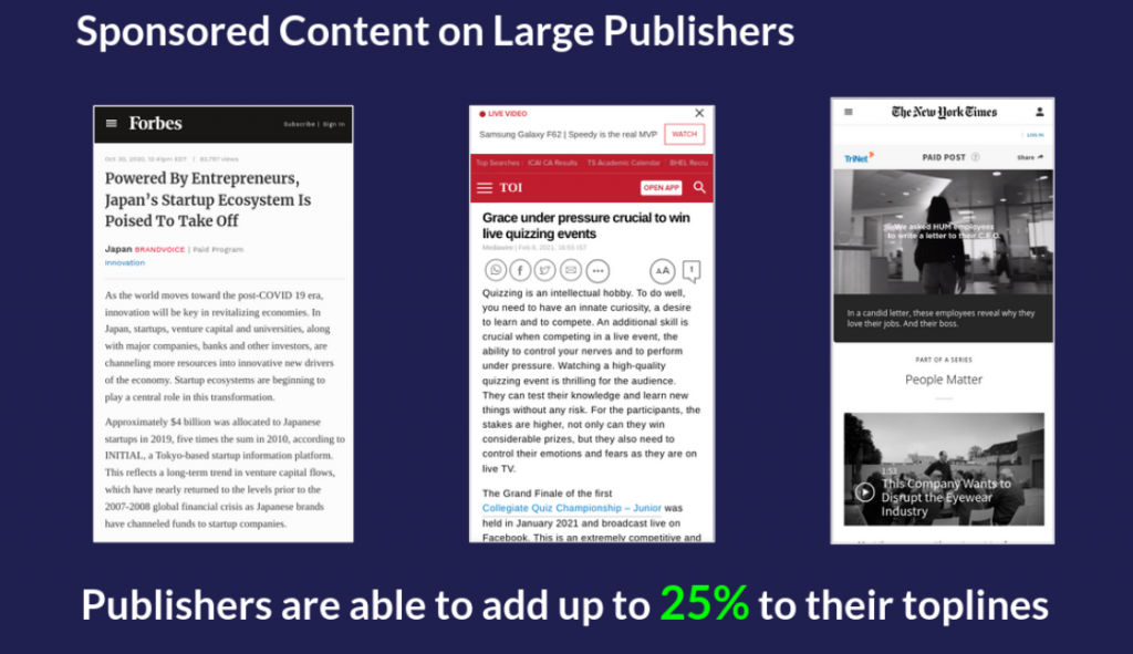 Sponsored Content on Large Publishers on M360